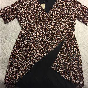NWT Ann Taylor Dress with mock wrap skirt Large